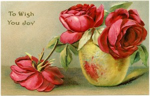 Free vintage clip art red roses in vase postcard