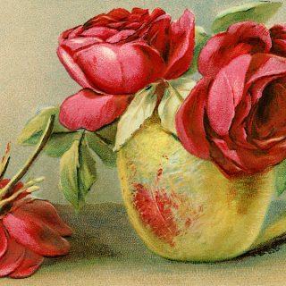 Free vintage clip art red roses in vase postcard