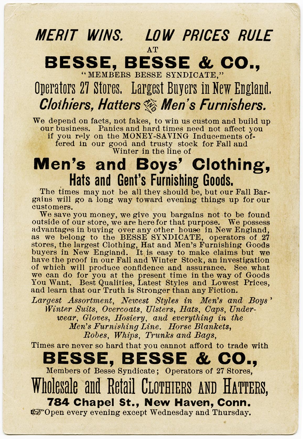 Victorian Trading Card ~ Besse, Besse & Co., | Old Design Shop Blog