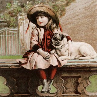 Free vintage clip art Besse Co girl dog Victorian advertising card