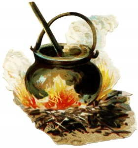 witch cauldron, halloween clip art, vintage halloween, outdoor fire