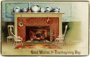 free vintage thanksgiving postcard, ellen clapsaddle vintage postcard, free digital image postcard, old fashioned thanksgiving image, free vintage clipart thanksgiving, fireplace scene, clapsaddle fireplace postcard, thanksgiving, fireplace, fire, chairs, dishes