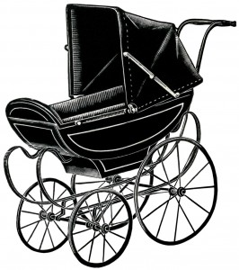 free vintage clipart doll pram, doll carriage, antique baby carriage, vintage doll perambulator, free vintage image, digital image baby buggy, baby carriage illustration