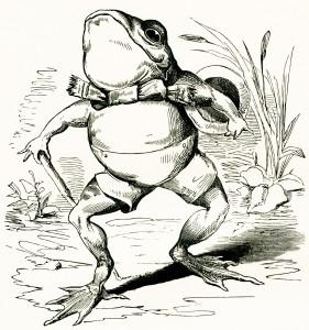 fairytale frog, free vintage clipart frog, free vintage image, frog illustration, frog walking sketch, frog wearing clothes, storybook frog