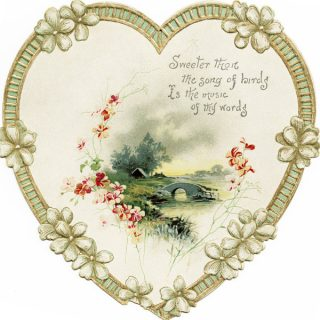 Free vintage clip art heart shaped ephemera flowers and country scene