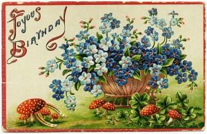 Free vintage clip art birthday postcard blue flowers in basket red toadstools