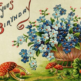 Free vintage clip art birthday postcard blue flowers in basket red toadstools