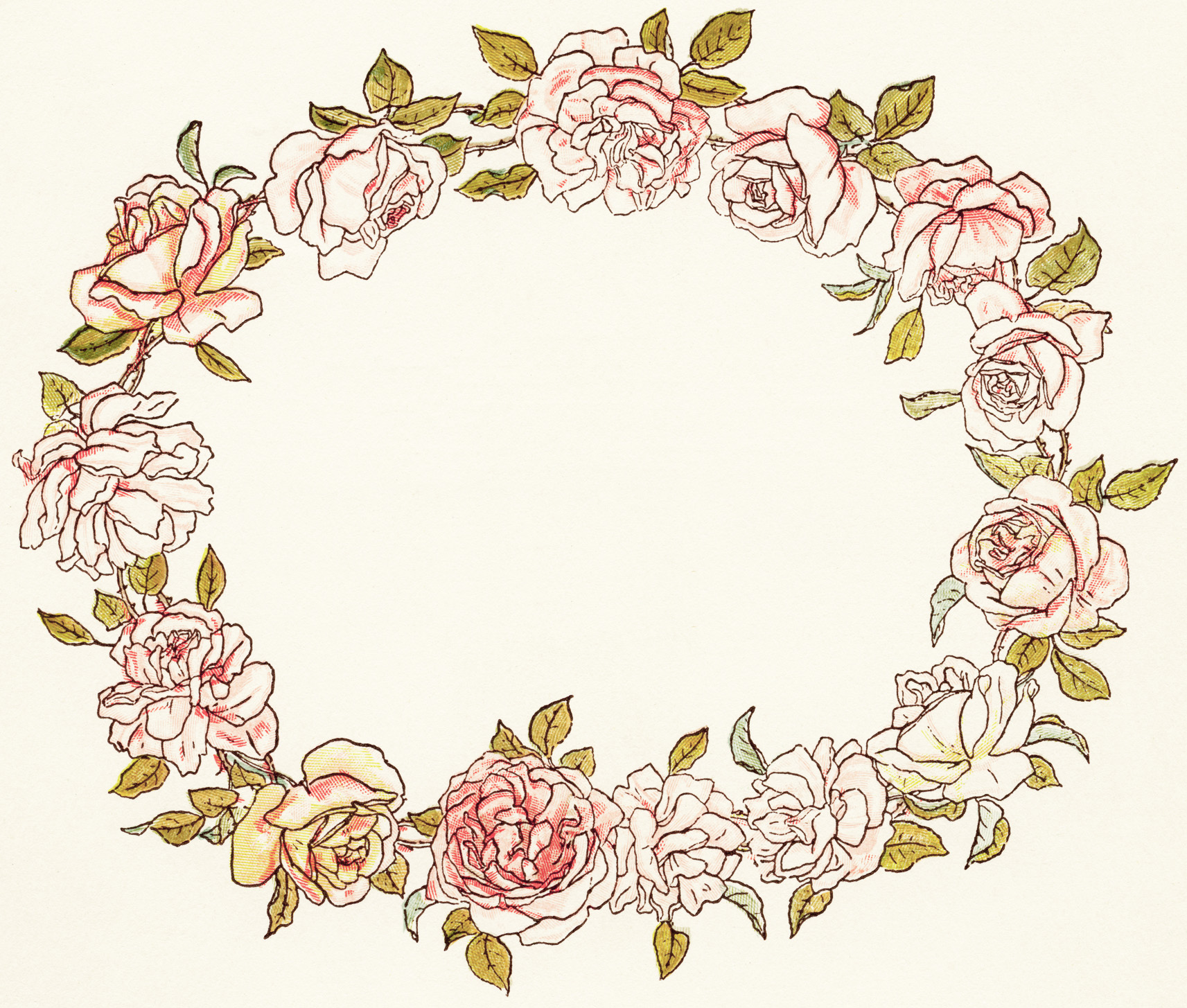 Floral Wreath Free Vintage Illustration Old Design Shop Blog