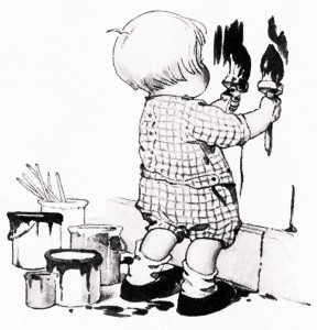 boy painting walls, free vintage clipart, free vintage image, black and white illustration child, child paints wall, clipart boy, clipart paint