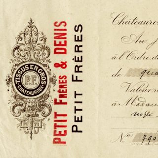 Free vintage clip art French cheque Petit Freres Denis