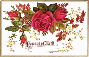 Free vintage floral clip art red rose reward of merit