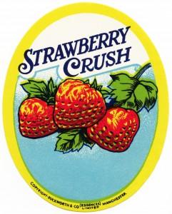 strawberry crush, vintage label, free vintage clipart strawberry, duckworth & co (essences) limited, manchester, strawberries, vintage bottle label, soft drink, old fashioned beverage label,