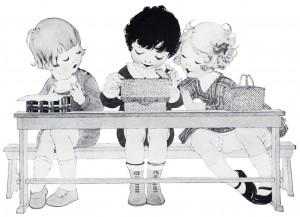school lunch box, free vintage image, vintage clipart children, children eating lunch, black and white sketch boy girl, free vintage printable kids, royalty free vintage illustration