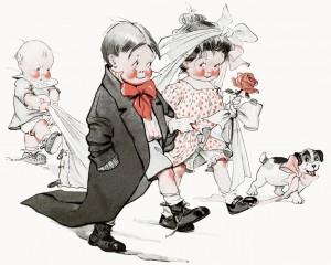 Free vintage clip art Charles Twelvetrees children play wedding