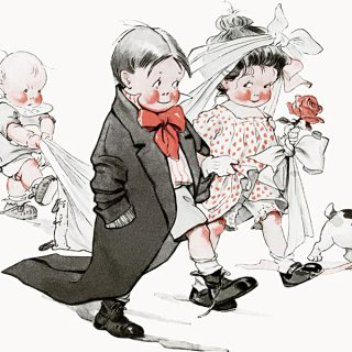 Free vintage clip art Charles Twelvetrees children play wedding