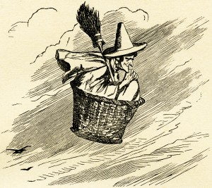 Halloween witch illustration, storybook witch, vintage Halloween clip art, free printable witch, witch flying in basket