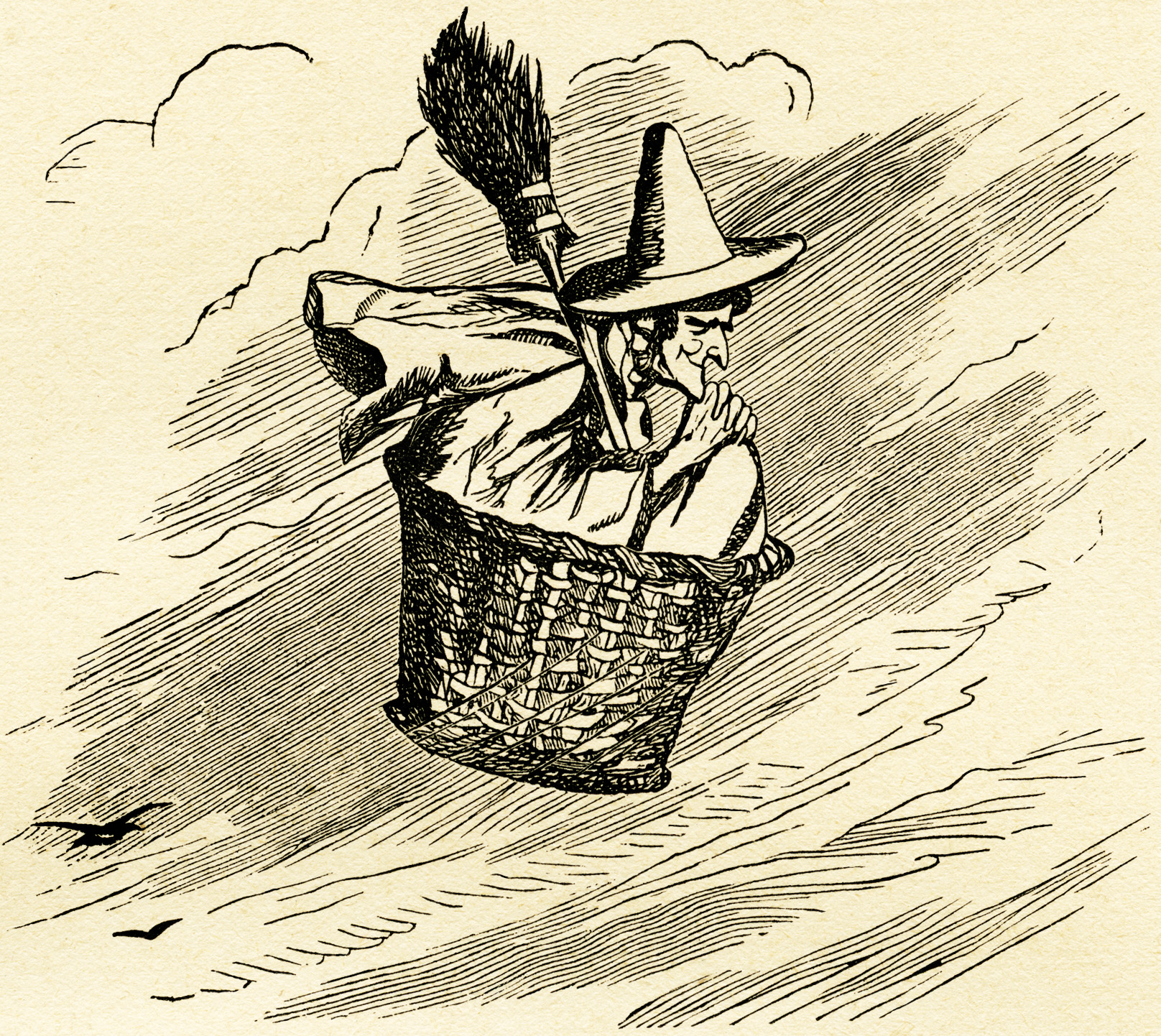 free vintage clipart witch, witch flying in basket, free digital witch illustration, free printable witch image, halloween