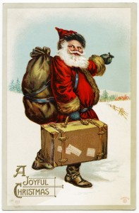 Free vintage clip art santa pointing the way Christmas postcard