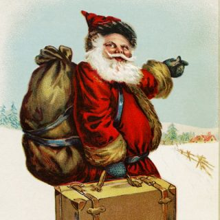 Free vintage clip art santa pointing the way Christmas postcard