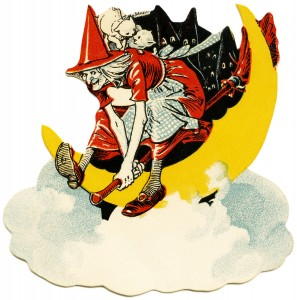 free vintage images, art deco Halloween, vintage clipart free, witch flying on broom, vintage Halloween, witch illustration, antique witch picture, moon, bats