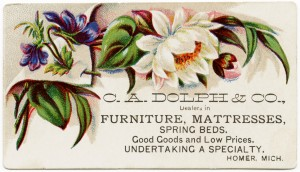 Free vintage clip art Victorian floral business card C A Dolph