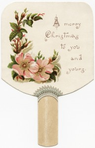 Free vintage clip art wild rose fan-shaped Christmas card
