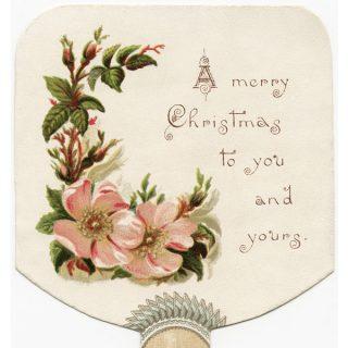 Free vintage clip art wild rose fan-shaped Christmas card