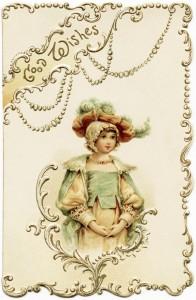 Free printable Victorian girl Christmas card clip art