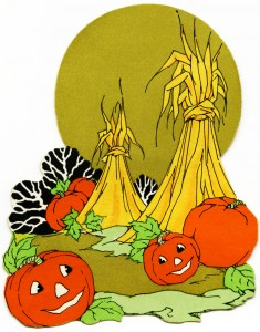 Free vintage clip art Halloween pumpkins and hay in field