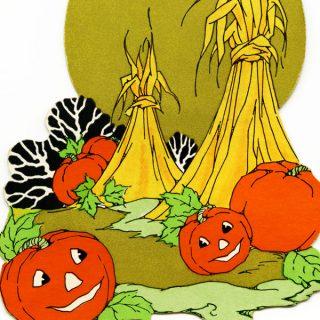 Free vintage clip art Halloween pumpkins and hay in field