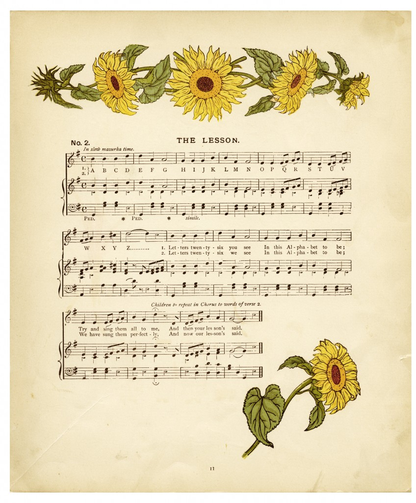 10 Images About Kids Sheet Music On Pinterest: Vintage Sheet Music And Sunflowers