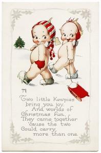 Free vintage clip art Kewpies in snowy field Christmas postcard image