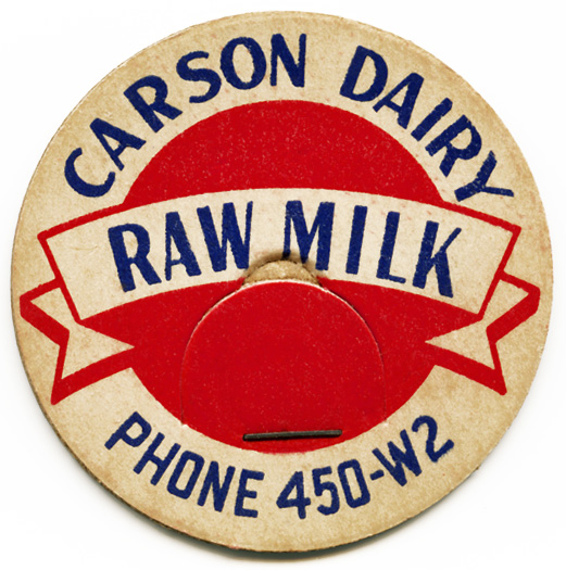 vintage milk bottle cap, carson dairy, old cardboard milk cap, vintage ephemera, red blue milk cap