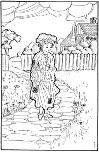 black and white clipart, little goody two shoes, vintage child sketch, line drawing girl walking, free vintage graphic
