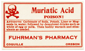free vintage poison label muriatic acid fuhrmans pharmacy