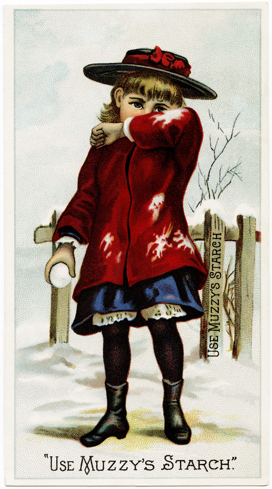 victorian trade card graphic, muzzy's starch, muzzys corn starch advertising card, free printable girl in snow, snowball fight vintage image, vintage clipart child snowball, free vintage image winter