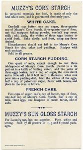 victorian trade card graphic, muzzy's starch, muzzys corn starch advertising card, corn starch vintage recipe, corn starch old cake recipe