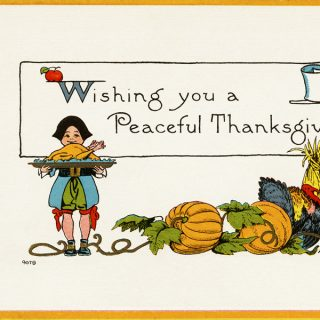 Free vintage clip art pilgrim boy serving turkey on platter Thanksgiving postcard