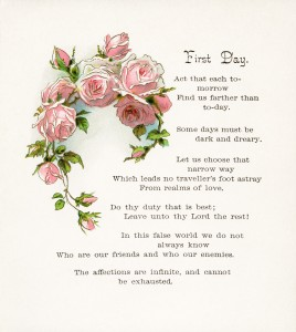 Free vintage illustrated poem pink roses