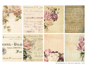 old roses, vintage papers, ATC ACEO background, digital collage sheet, printable feminine cards