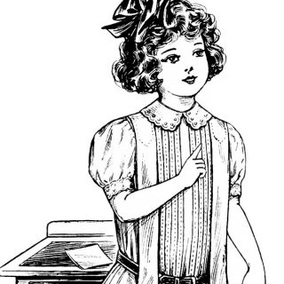 Free vintage clip art school girl