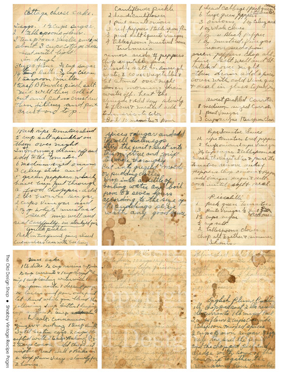 recipe card, grungy paper, digital collage sheet, atc, aceo, vintage recipe printable