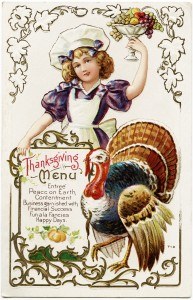 Free vintage clip art Thanksgiving postcard girl with menu turkey and bowl of fruit