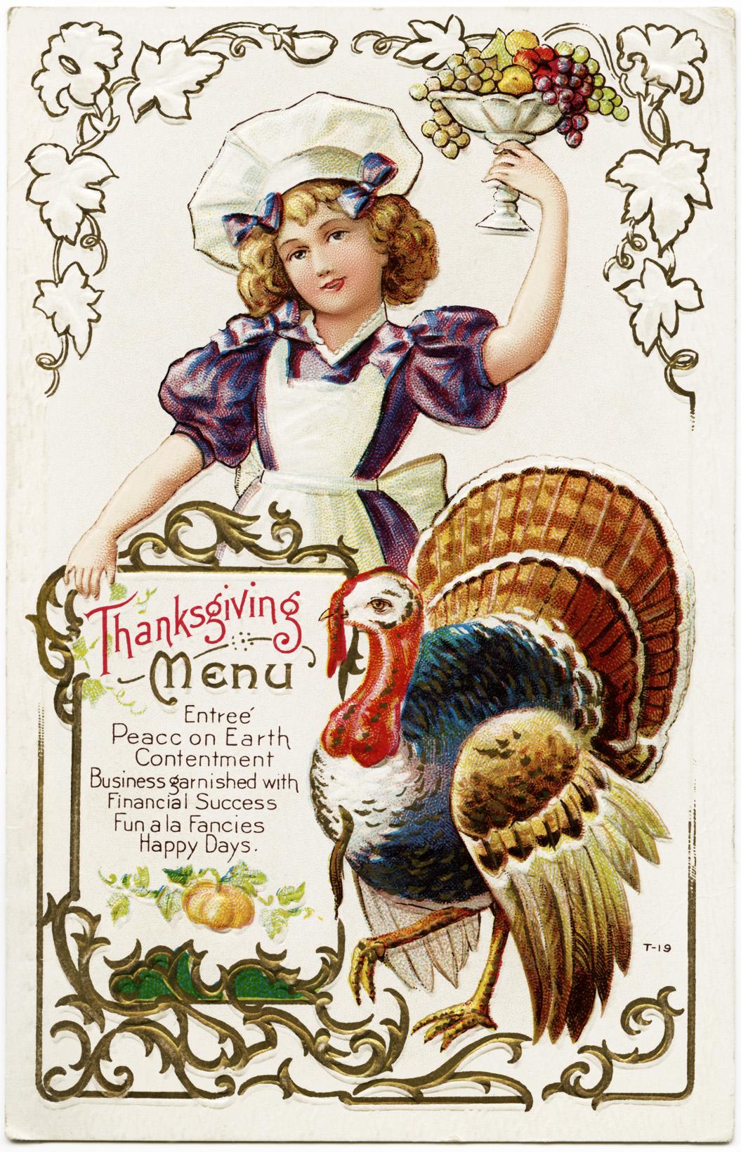 Turkey Day Hercules Style: Free Vintage Thanksgiving Menu Postcard