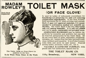 toilet mask ad, vintage beauty advertisement, madam rowley's toilet mask, free vintage beauty graphic, free printable ad, halloween mask digital image