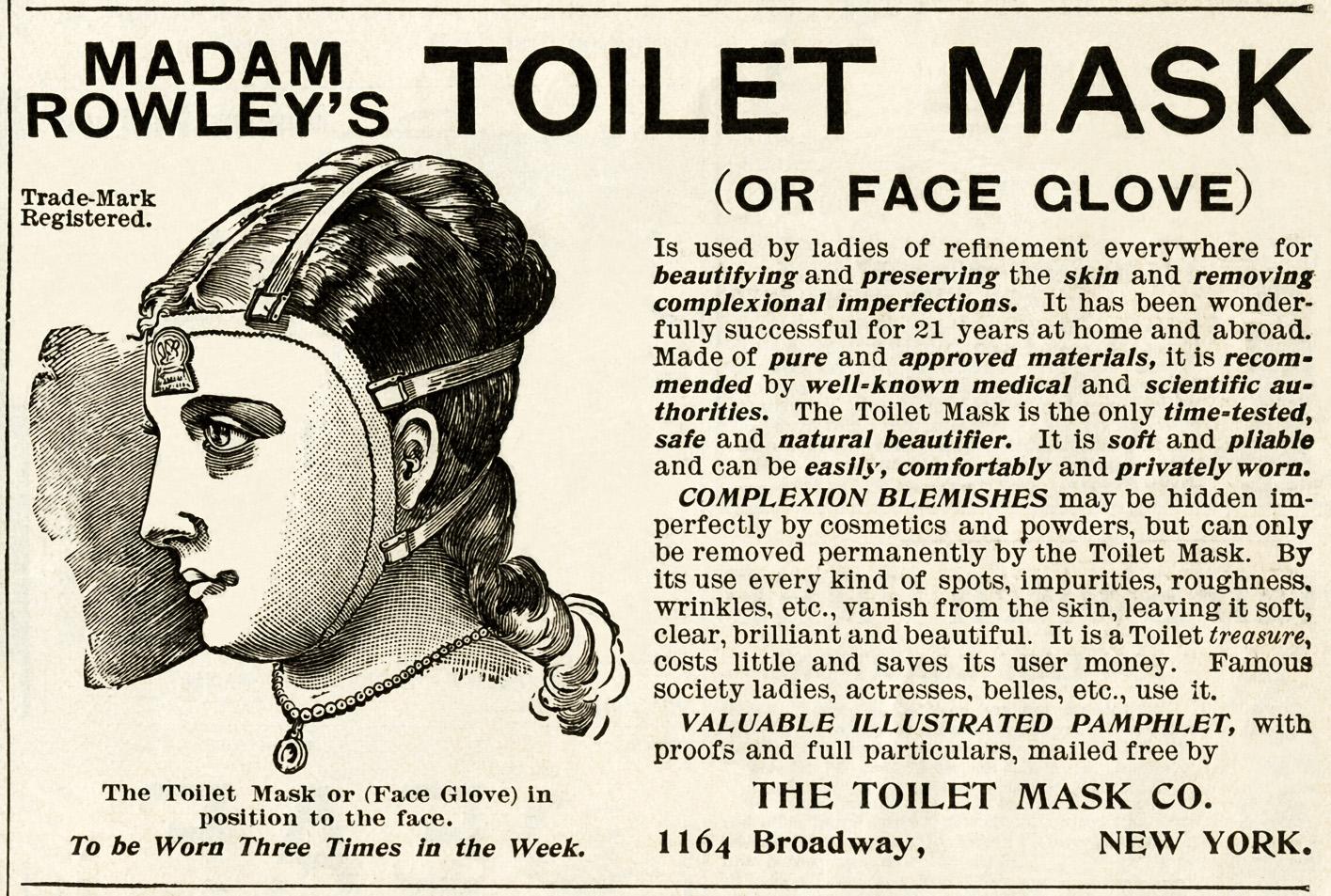 toilet mask ad, vintage beauty advertisement, madam rowley's toilet mask, free vintage beauty graphic, free printable ad, halloween mask digital image