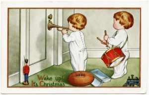 Free vintage clip art Christmas morning wake up children playing music