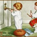 Free vintage clip art Christmas morning wake up children playing music