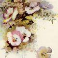 Free vintage clip art pansy cluster floral illustration