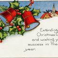 Free vintage clip art Christmas bells postcard